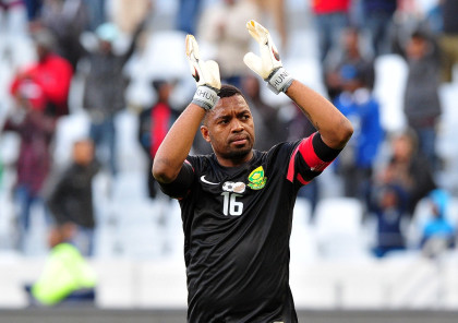 Itumeleng Khune of South Africa applauds the crowd during the international friendly between South Africa and Angola at Cape Town Stadium, Cape Town on 16 June 2015  ©Ryan Wilkisky/BackpagePix