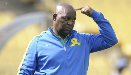 Pitso Mosimane, coach of Mamelodi Sundowns during the 2014 Telkom Knockout Semi Final match between Platinum Stars and Mamelodi Sundowns at Royal Bafokeng Stadium, Rustenburg on the 09 November 2014  ©Muzi Ntombela/BackpagePix
