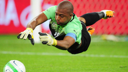 Itumeleng Khune of South Africa during the 2013 Nelson Mandela Challenge football match between South Africa and Nigeria at Moses Mabhida Stadium, Durban on 14 August 2013  ©Gavin Barker/BackpagePix