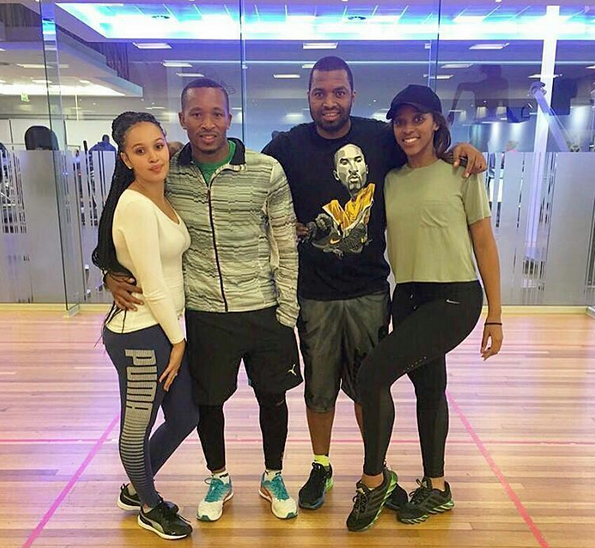 Couple workout: Lehlohonolo Majoro And His Girl And Itumeleng Khune And His Girl